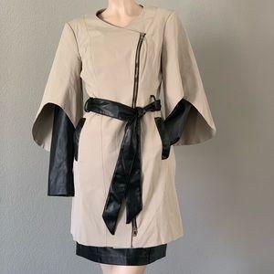 $128‼️Bebe beige coat with black leather sleeves